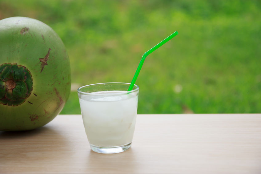 45127329 - coconut water in glass