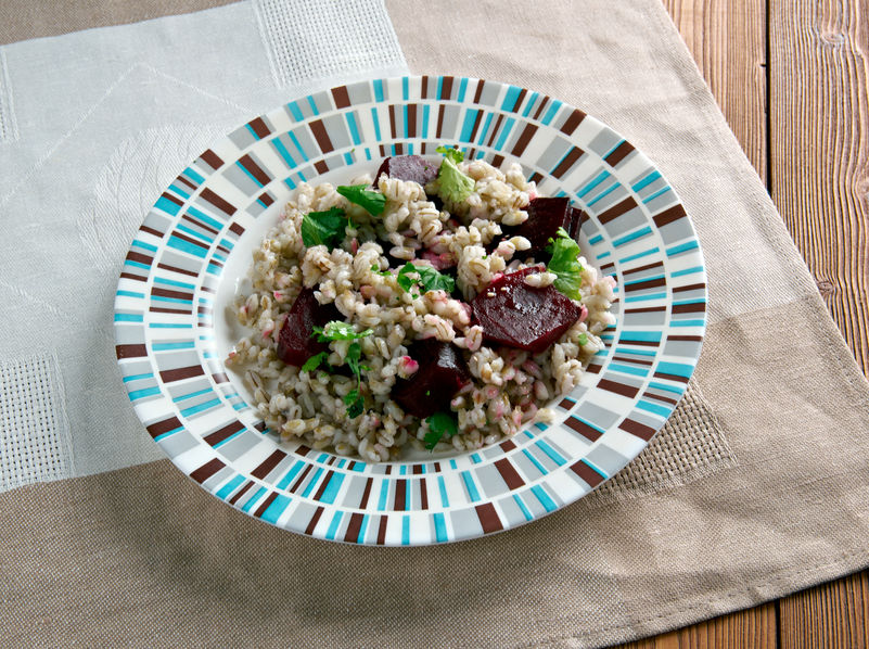 49704394 - farro salad with beets.italian cuisine
