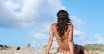 woman beach hair loss