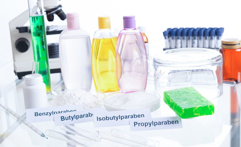 54601698 - noxious additives in cosmetics. laboratory with chemical substances.