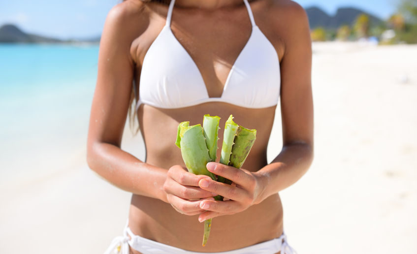 47751059 - aloe vera - woman showing plant for skin care treatment using aloes. can be used as natural medicine or remedy against sunburn.