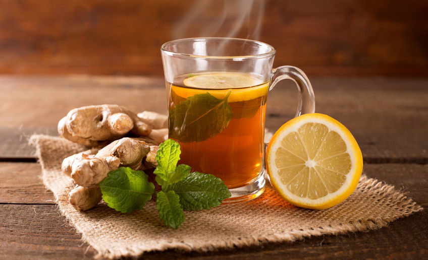 48481081 - ginger tea with mint and lemon