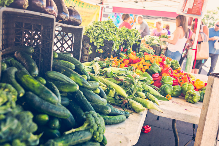 47939388 - local produce at the summer farmers market in the city.