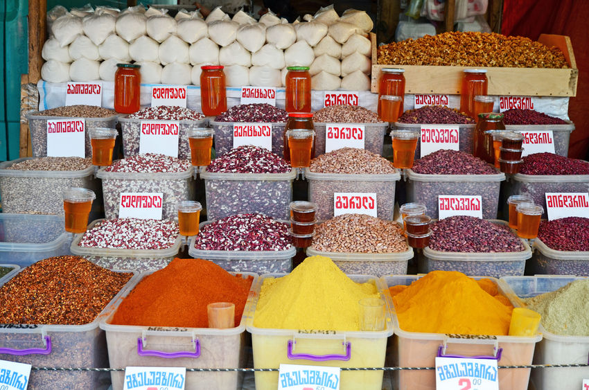 44204885 - city food market in tbilisi. spices and legumes