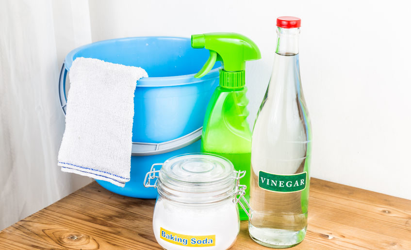 44083957 - baking soda with vinegar, natural mix for effective house cleaning