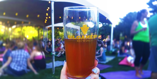 Yoga + Beer event at Gilgamesh Brewery in Oregon