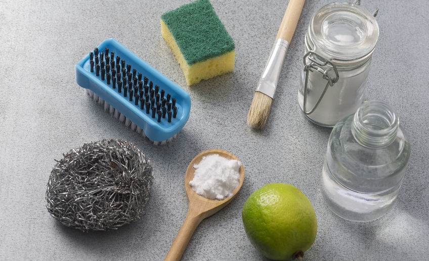60587471 - natural cleaning tools lemon and sodium bicarbonate for house keeping